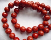 SALE!! Bead, Sponge Coral, Dyed, Gemstone, Red, 9 to 10mm, Round, Mohs hardness 3-1/2 to 4, Pkg Of 12 SALE!!
