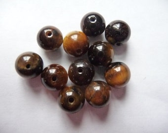 SALE!!  Bead, Tigereye, Gemstone, Natural, 8mm, Round, B Grade, Mohs hardness 7, Pkg Of 12 SALE!!