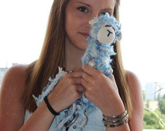Crochet Blue Sheep Bag, Crochet Blue iPhone Bag, Blue  iPhone Case, Crochet Sheep iPhone Case, Crochet Fluffy Blue Sheep Bag,