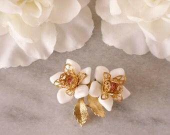 White Flower Pin Pink Rhinestone Floral Brooch Gold Leaf Vintage