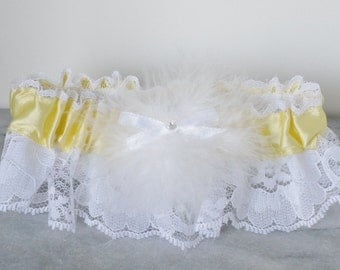 Yellow White Prom Bridal Lace Garter Small Medium
