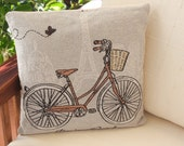 """French vintage bike at Eiffel Tower Paris """"Bonjour Paris"""" woven throw pillow case cushion cover ideal gift for stylish home owners"""