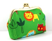 SALE Bright Green Cotton with Animal Print with Gold Kiss Lock Frame FREE SHIPPING