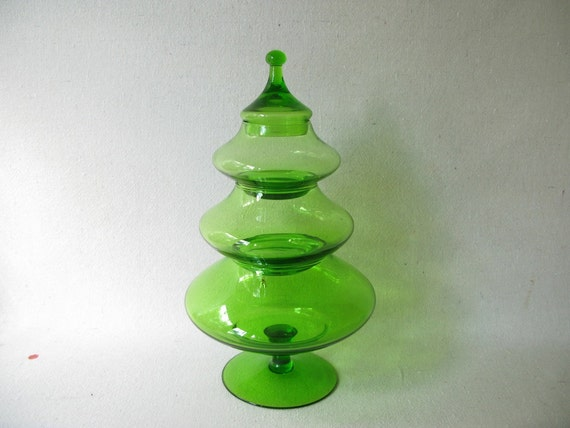 Vintage glass christmas tree candy dish
