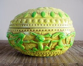 Retro Ceramic Easter Egg Box Yellow with Green Bunnies