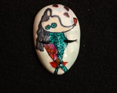 Hand Painted Goddess Face Cabochon Laurel Burch Inspired Polymer Face Cab Beading Focal Doll Face