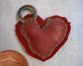 red & pink patchwork heart charm