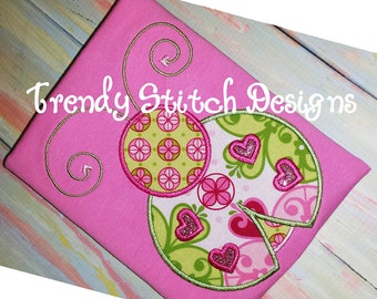 Lady Bug Heart Applique Design Machine Embroidery Design INSTANT DOWNLOAD