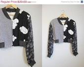 SALE 20% OFF Patchwork Jacket  Vintage 1980s Floral Crop Small