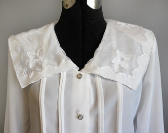 Collar Blouse Vintage White Victorian Shirt Sailor Large