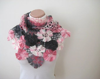 Crochet Shawl - Pink, White and Gray Flower Triangle Shawl - Gift for Her - Ready to Ship