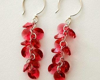 Indian Pink Swarovski Crystal Cluster Earrings, Sterling Silver Earrings, Bridal Fashion Jewelry, Statement Earrings, design by behin
