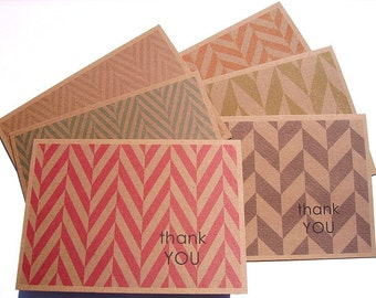 Thank You Cards - Herringbone Thank You Notes, Geometric Modern Herringbone Kraft Thank You Card Set, Orange Red Green Blue Brown Note Cards