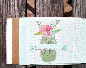 Congratulations Card - Vintage Flowers Mason Jar, Wedding Card, Graduation Card, Thin Mint Chevron, Festive Aqua Mint Banner, Bridal Shower