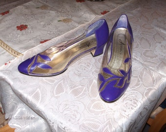 Vintage Funky Purple Faux Leather and Lucite Ladies Shoes - Great Condition