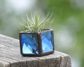 Mini Air Plant Holder Blue Stained Glass Terrarium Cubed Glass Box Planter