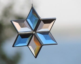 Three Dimensional Blue and Champagne Beveled Glass Star with Silver Lines - Medium