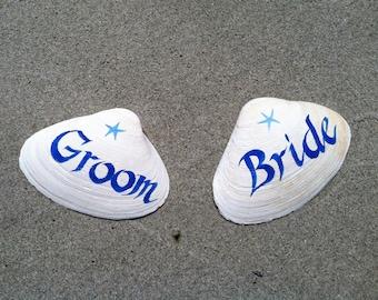Hand Painted Bride & Groom Shell Set, Wedding Decoration, Nautical Beach Wedding