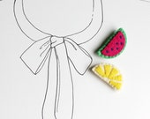Lemon Slice Brooch - Fruit Felt Pin - Fun Summer Accessories