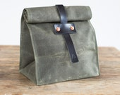Lunch Tote in Olive Waxed Canvas