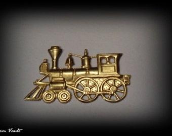 CLOSEOUT SALE 1 Steam Engine Train Locamotive  Pendants Raw Brass Stamping Charms and Brass Jewelry Findings (A-129)
