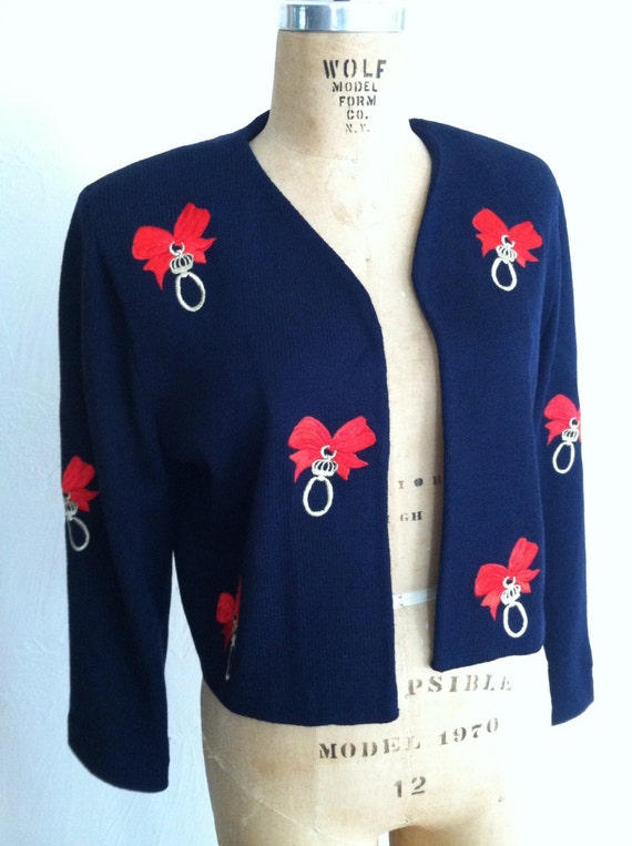 Bright Red Bows and Gold Rings on Navy Vintage ST JOHN Santana Knit Christmas Sweater Jacket 8
