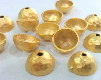 4 Pcs (10x5 mm)  Bead Caps  Findings , Gold Plated Brass G9530