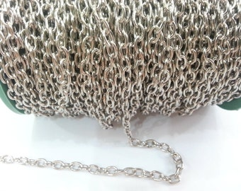 33ft Silver Chain Silver color round cable chain 5x6 mm - unsoldered 33 feet - 10 meters G2471