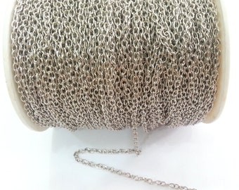 33 feet - 10 meters  of Silver color round cable chain 2x3 mm - unsoldered , G2473