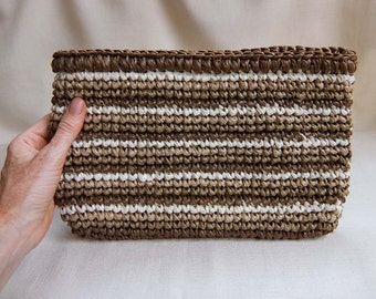 Vintage Over-Size Clutch Purse, Raffia Crochet in Earthtone Stripes, Made in Japan