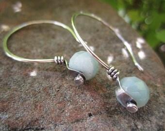 Sterling Silver Riveted Amazonite Earrings
