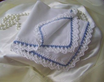 Something Blue Handkerchief, Hanky, Bridal, Hand Crochet, Lace, Lacy, Bouquet Wrap, Bridal Keepsake, Custom Embroidered, Personalized