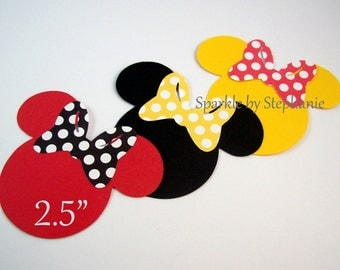 """Minnie Mouse Heads Die Cuts - 2.5"""" - Set of 12+ - Color/Bow of your Choice"""