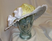 Chartreuse, Gray and White Edwardian Picture Hat- Downton Abbey, Titanic, Ascot, Kentucky Derby Style