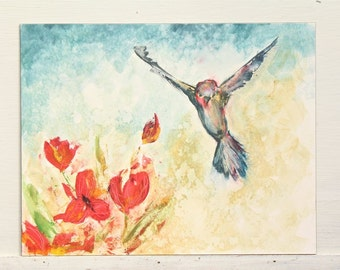 bird and tulips watercolor painting, original painting spring, red, yellow, blue, sky, flying bird