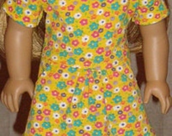 Yellow Floral Drop Waist Dress For American Girl Or Similar 18-Inch Dolls