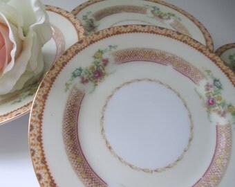 Vintage Bread and Butter/Dessert Plates Empress China Pink Gold Floral Set of Six