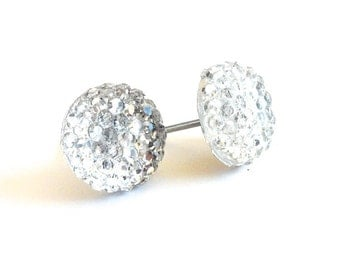 Clear Rhinestone Round Stud Earrings- Surgical Steel or Titanium Post Earrings- 10mmBlack Friday Sale 20% Off