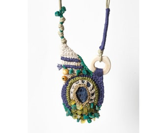 Ecru, Mauve,Green, Crocheted necklace Pendant with Gemstones