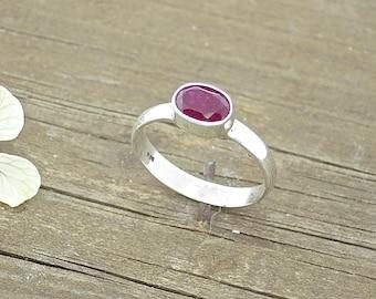 Sterling Silver Ruby ring, July Birthstone Ring, Silver Ruby Ring, Ruby Rings for Women, Dainty Silver Ring, Gemstone Ring