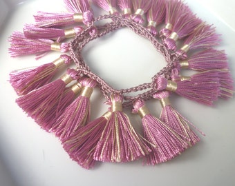 Moroccan art silk tassel necklace/bracelet, dusky pink and oatmeal, crochet necklace/bracelet