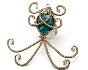 Victorian Pendant, Teal Stone Pendant, Silver Pendant, Wire Wrapped Pendant, Blue Chrysocolla Pendant, Gothic Pendant, Necklace Pendant