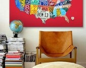 """License Plate Map of the United States 48"""" x 32"""" Wrapped Canvas Print - Pep Boys Limited Edition"""
