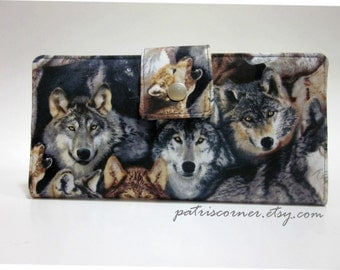 Handmade women's wallet clutch Wildlife - Proud of being Wolf - Custom order - gift for her - purse