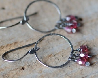 SALE Sterling Silver Hoop Earrings Hand Forged Bohemian Style Earrings Artisan Textured Hoops Pink Berry Glass Cluster Earrings