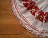 cotton scarf with crochet beaded trim, white, red