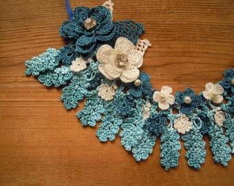 blue crochet necklace, bib, flower