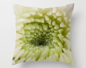 Chrysanthemum Cushion Case, Photo Pillow Cover, Green Living Room Accent, Floral Ivory Victorian Decor, French Cottage Chic Living Room