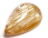 Rutilated Quartz Cabochon Copper Penny Flax Strands Rutile 3D Drop Free Form Hand Cut Shape Clear Crystal Inclusion Domed Rare and Unusual