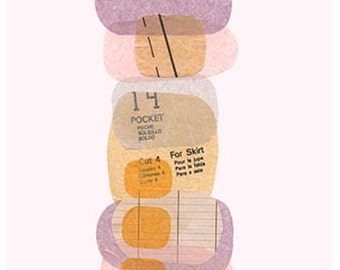 Brontee's Shade 3,print of my original mixed media artwork in shade of lavender,cream,pink and brown.